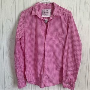 Frank & Eileen Pink and White Button Up Blouse